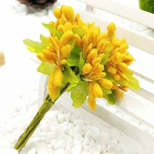 Mini Bouquet Flower Stamen - Small Glass Head, orange, 10 pieces, Long 9cm, [ST1132]